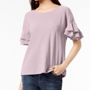 INC Washed Out Pink Ruffled-Sleeve Top